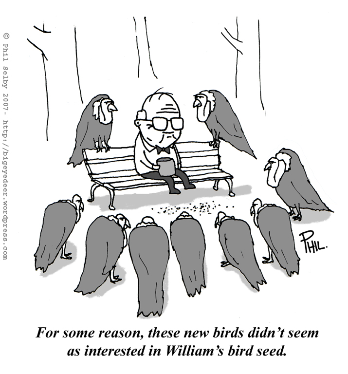 This cartoon hates the way old people are always carrion